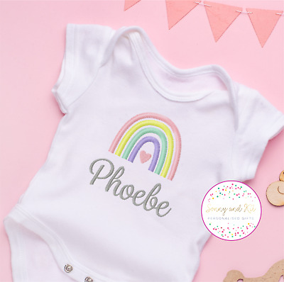 £7.99 • Buy Baby Vest, Rainbow Baby, IVF, Lockdown, Pastel Baby Colours, Embroidered Design