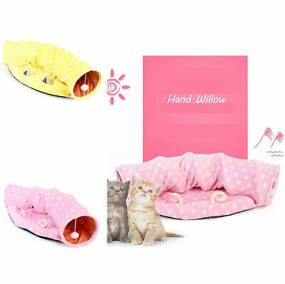 Cat Tunnel Bed Soft Interactive Collapsible Fabric Scratching Ball Long Play Toy • 14.49£