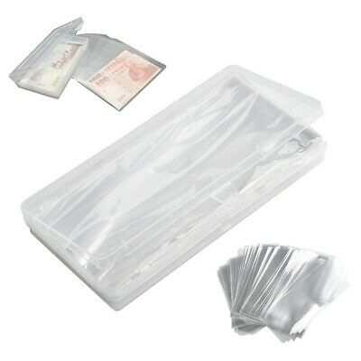 100Pcs Paper Money Stamps Sleeves Clear Banknote Collection Protect Storage Bags • 7.76£