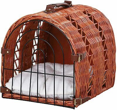 £31.97 • Buy Pawhut Wicker Cat Carrier Basket Kitten Bed Portable Pet Caves Houses With Soft