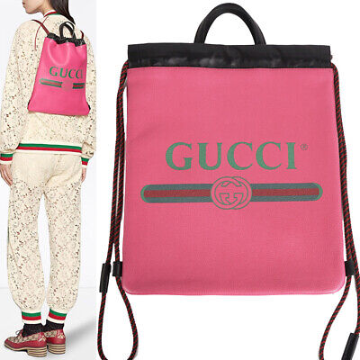 AU767.64 • Buy NEW $1590 GUCCI Pink Leather 80's VINTAGE LOGO WEB Drawstring BACKPACK TOTE BAG