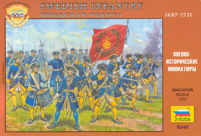 ZVEZDA 1/72 - 8048 Great Northern War Swedish Infantry ON SPRUES - MADE RUSSIA • 15.51£