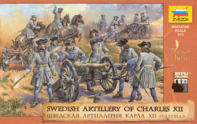 ZVEZDA 1/72 - Swedish Artillery Of Charles XII - 8066 ON SPRUES - MADE RUSSIA • 11.20£