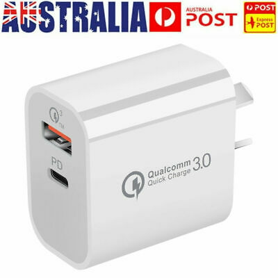 AU11.95 • Buy 1/4X Plug PD 18W USB-C Type C Fast Wall Charger Adapter For IPhone 12 11 Android