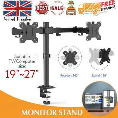 """£17.99 • Buy Double Twin Arm Desk Mount Bracket LCD Computer Monitor Stand 10""""-27"""" Screen TV"""