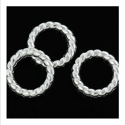 £3.49 • Buy 100 Twisted Closed Jump Rings - 10mm - Silver Plated -Connector Findings J58985