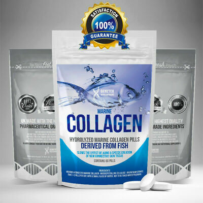 £7.99 • Buy Hydrolyzed Fish COLLAGEN MARINE Tablets Skin Anti Ageing Tissue Joints 60 Pills