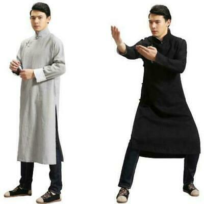 $62.21 • Buy Mens Vintage Style Chinese Traditional Long Gown Jacket Linen Plain Casual New