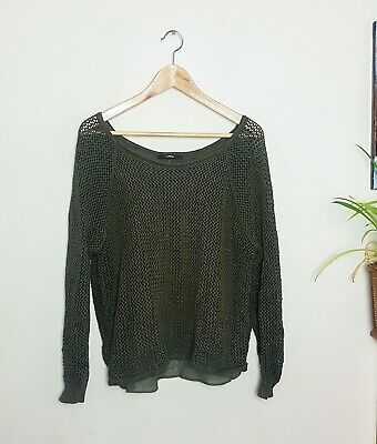 £9 • Buy Sparkly Green Slouchy Boat Neck Wrap Style Knit Sheer Back Jumper UK16 Party