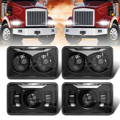 $ CDN210.56 • Buy Black 2x High & 2x Low Beam 4X6  LED Headlights For Kenworth T800 600 400 W900B