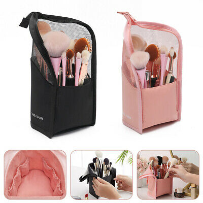 £7.87 • Buy Stand Makeup Brush Holder Mesh Cosmetic Bag Organizer Zipper Travel Pouch Case