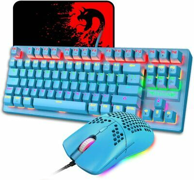 AU62.09 • Buy Blue Mechanical Gaming Keyboard And Lightweight Mouse RGB Backlit + Mice Pad Set
