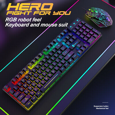 AU46.47 • Buy Gaming Keyboard And Mouse Combo RGB LED Wired USB For PC Laptop PS4 Xbox Black