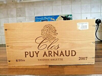 £12.50 • Buy Genuine French 6 Bottle Wooden Winebox 'Clos Puy Arnold' By Thierry Valette 2007