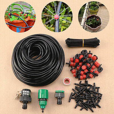 £9.99 • Buy DIY IRRIGATION SYSTEM DRIP PIPE 25M GARDEN WATERING KIT W/ 30 DRIPPERS