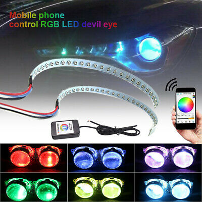 $24.99 • Buy 1 Pair Car RGB Demon Eye Halo Ring LED Light Strips Kit For Headlight Projectors