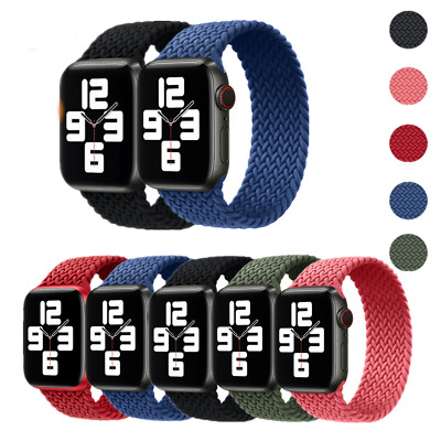 AU8.99 • Buy For IWatch Apple Watch SE 6 5 4 3 2 1 Elastic Nylon Strap Braided Solo Loop Band