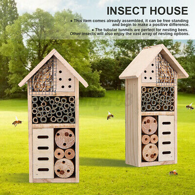 £10.96 • Buy Insect Nest Home Wooden House Bee Bug Ladybird Hotel Shelter Roof Garden Bo