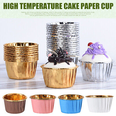 £4.99 • Buy 50/100pcs Aluminum Foil Cupcake Paper Liner Baking Cups Muffin Cup Cake Wrappers