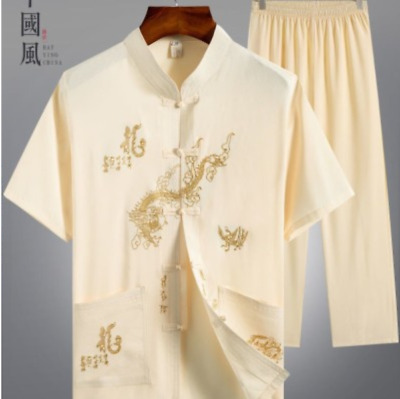 $18.46 • Buy Mens Embroidery Chinese Button Casual Silk Short Sleeve Stand Collar Shirt 2Pcs