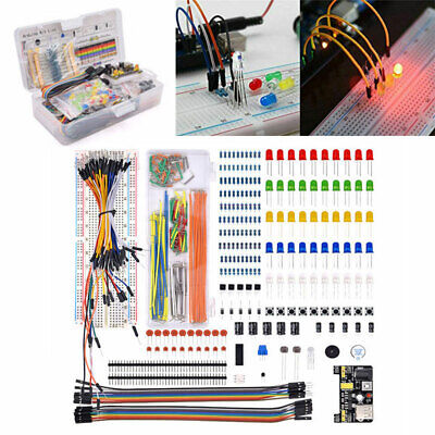 Electronic Component Starter Kit Wires Breadboard LED Buzzer Resistor Transistor • 12£