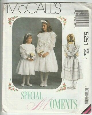 1991 Vintage McCalls Sewing Pattern 5251 Girls Occasion Bridesmaid Party Dress 4 • 4.95£