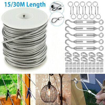 £15.29 • Buy 15/30M Stainless Steel Wire Rope Cable Railing Fence Roll Kits Hanging Hooks 2mm