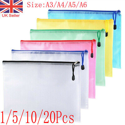 £7.69 • Buy A3/A4/A5 Plastic Zip File Bags Storage Document Folder Protective Wallet Pockets