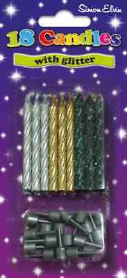 £2.49 • Buy 18 Birthday Cake Party Candles With Holders Silver Gold Black Glitter Celebrate