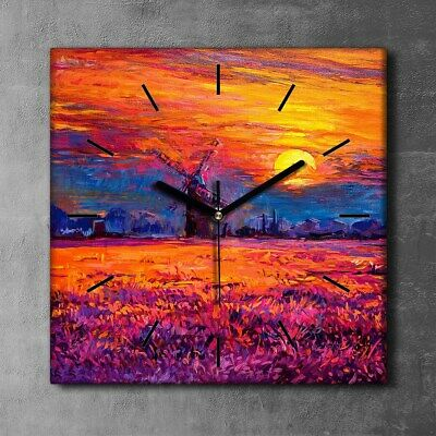 £29.95 • Buy Silent Clock Canvas Photo Picture Painting Windmill Sunset Sun Sky Flower 30x30