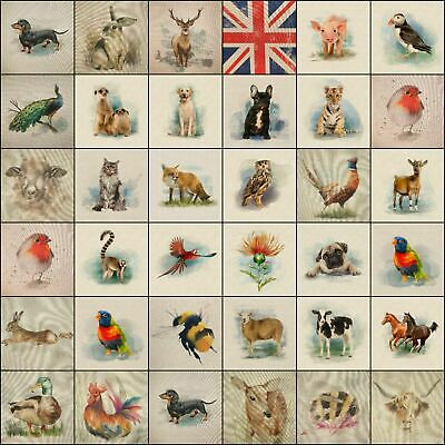 £1.99 • Buy Fabric Cushion Panels Linen-look Country Creatures And Animals