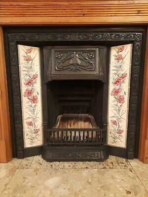 £225 • Buy Victorian Style Black Cast Iron Tiled Insert Fireplace Surround And Grate