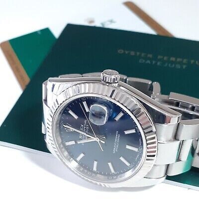 $ CDN13332.52 • Buy W/Papers Rolex Datejust II 41 Mm Steel Automatic Blue Sticks Dial Watch 126334