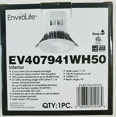 £21.51 • Buy EnviroLite Easy Up 4 In. Day Light LED Recessed Light With J-Box (No Can Needed)