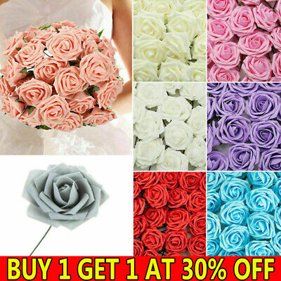 £6.59 • Buy 50Pcs Artificial Flowers Foam Rose Fake With Stem Wedding Party Bouquet Decor PP