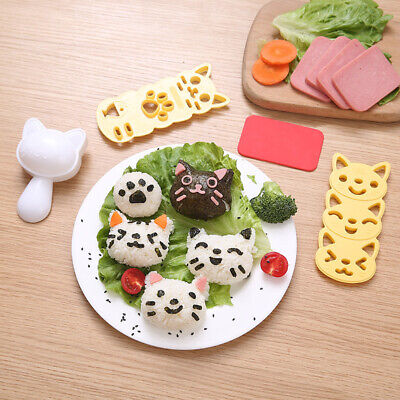 Sushi Rice Mold Set Cooking Tools Cute Cat Bento Maker Cutter Kitchen Mould UK • 7.99£