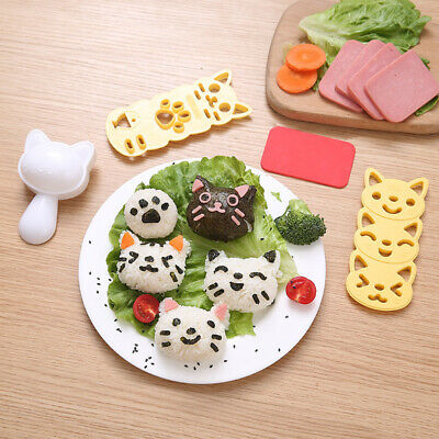 £7.99 • Buy Sushi Rice Mold Set Cooking Tools Cute Cat Bento Maker Cutter Kitchen Mould UK