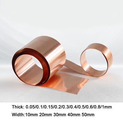 £2.45 • Buy 1 Meter Copper Sheet Strip Pure Cu Thin Foil Plate Thick 0.05-1mm Width 10-50mm