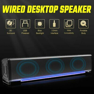 £12.81 • Buy Wired USB Stereo 3D Surround Sound Bar TV Home Theater Soundbar Computer Speaker