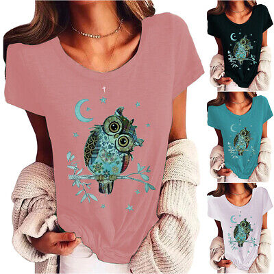 £14.49 • Buy Ladies Womens Crew-Neck Short Sleeve Owl Print Casual Loose T-Shirts Tops Blouse