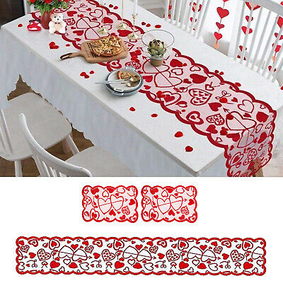 £4.67 • Buy Valentines Table Runner Red Doily Heart Print Valentine's Day Decorations