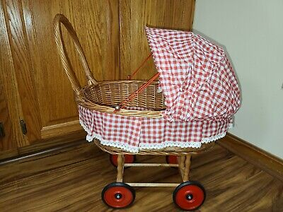 £17.75 • Buy Vintage Wicker Baby Doll Carriage Pram Stroller Canopy Red Gingham 18 Long 24  H