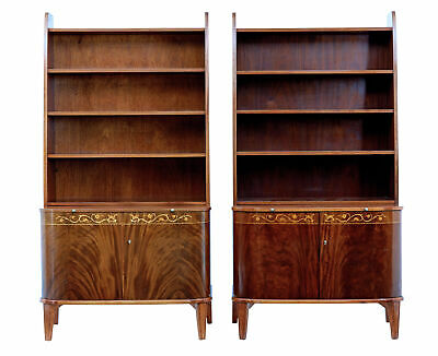 $3321.63 • Buy Pair Of Mid 20th Century Flame Mahogany Scandinavian Bookcases By Bodafors