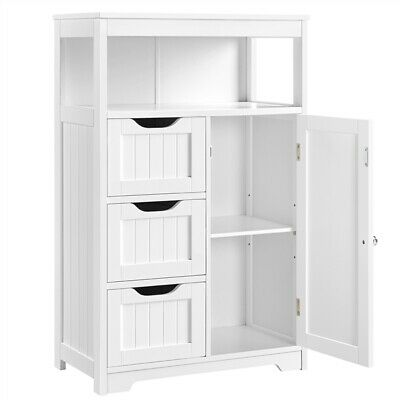 £62.99 • Buy Bathroom Floor Cabinet Storage Unit 3 Tiers Freestanding Chest Of Drawers White