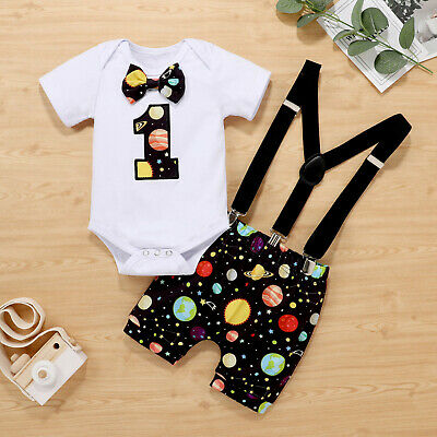 £11.99 • Buy Infant Baby Boys Girls Romper+Bow Tie Suspender Shorts 1st Birthday Outfits Set