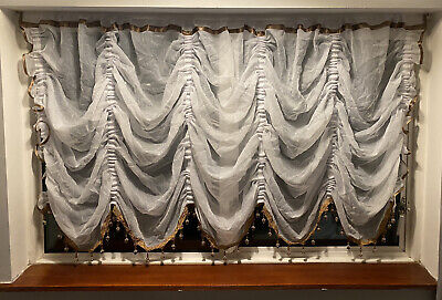 £33 • Buy Festoon White Net Curtain Crushed Voile With Brown Beaded Finish