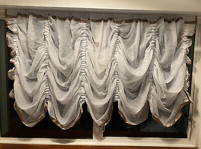 £29.99 • Buy Festoon White Net Curtain Crushed Voile With Brown Satin Trim