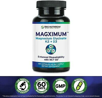 £12.74 • Buy Magnesium Glycinate   Boosted With K2 D3 Vitamin   Chelated With MCT Oil