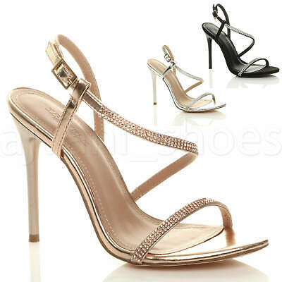 £19.99 • Buy Womens Ladies High Heel Diamante Barely There Strappy Evening Sandals Size
