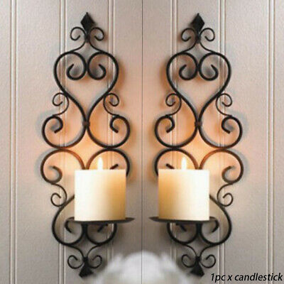£10.47 • Buy 1/2X Iron Wall Hanging Candle Holder Swirling Sconce Vintage Home Decor Foldable